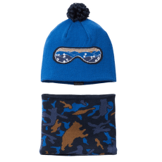 Youth Snow More™ Hat And Gaiter Set Bright Indigo Critter Camo 432