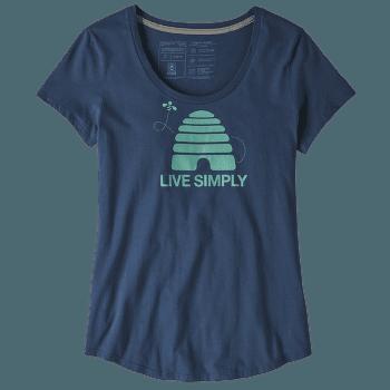 Live Simply Hive Organic Scoop T-Shirt Women Stone Blue