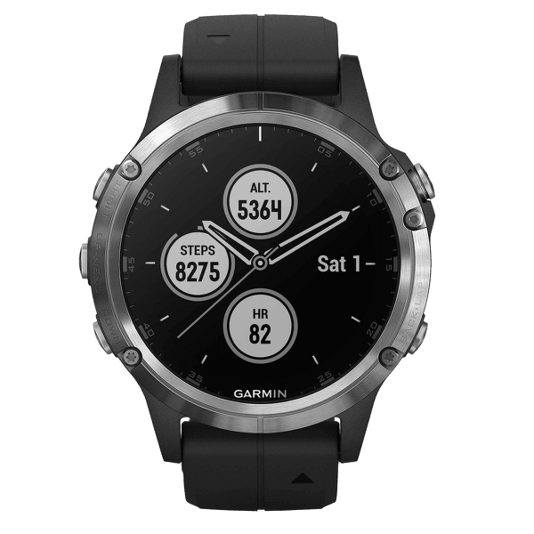 Garmin Fénix 5 Plus Silver, Black Band