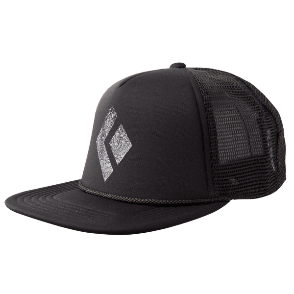Flat Bill Trucker Hat Black-White
