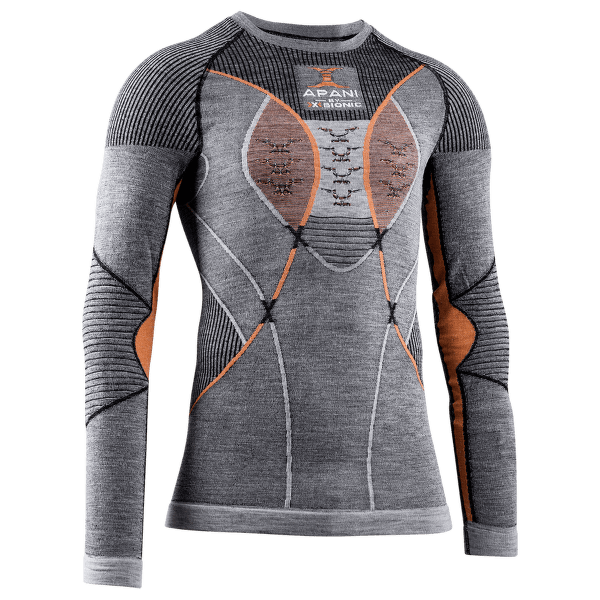 APANI® 4.0 Merino Shirt Round Neck Men BLACK/GREY/ORANGE