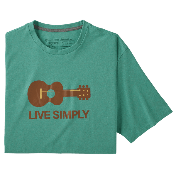 Live Simply Guitar Responsibili Tee Men Light Beryl Green