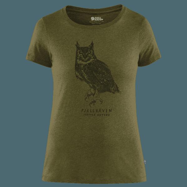 Owl Print T-Shirt Women Green