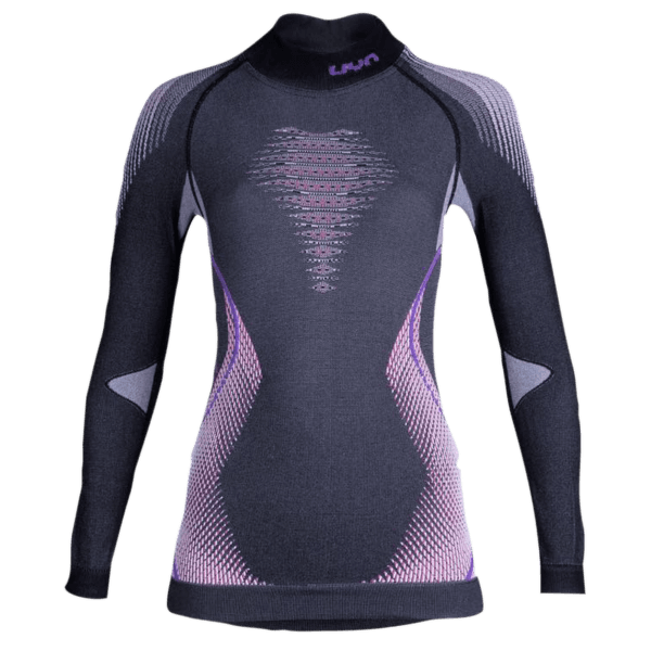 Evolutyon UW Shirt LS Turtle Neck Women Anthracite Melange/Raspberry/Purple