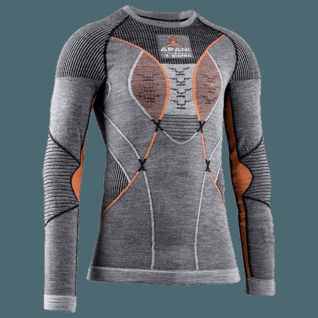 APANI® 4.0 Merino Shirt Round Neck Men BLACK/GREY/ORANGE