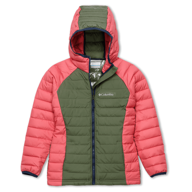 Powder Lite™ Hooded Jacket Girls Cypress, Wild Salmon 316